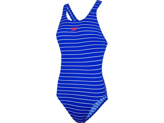 speedo Endurance+ Printed Medalist Traje de Baño Mujer, chroma blue/white